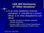 lda 203 disclosures of other donations13