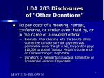 lda 203 disclosures of other donations14