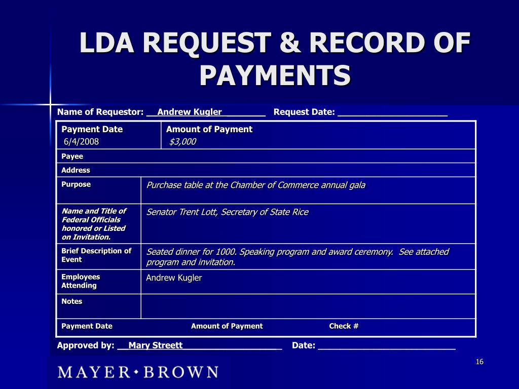 LDA REQUEST & RECORD OF PAYMENTS