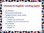 german english reading paper