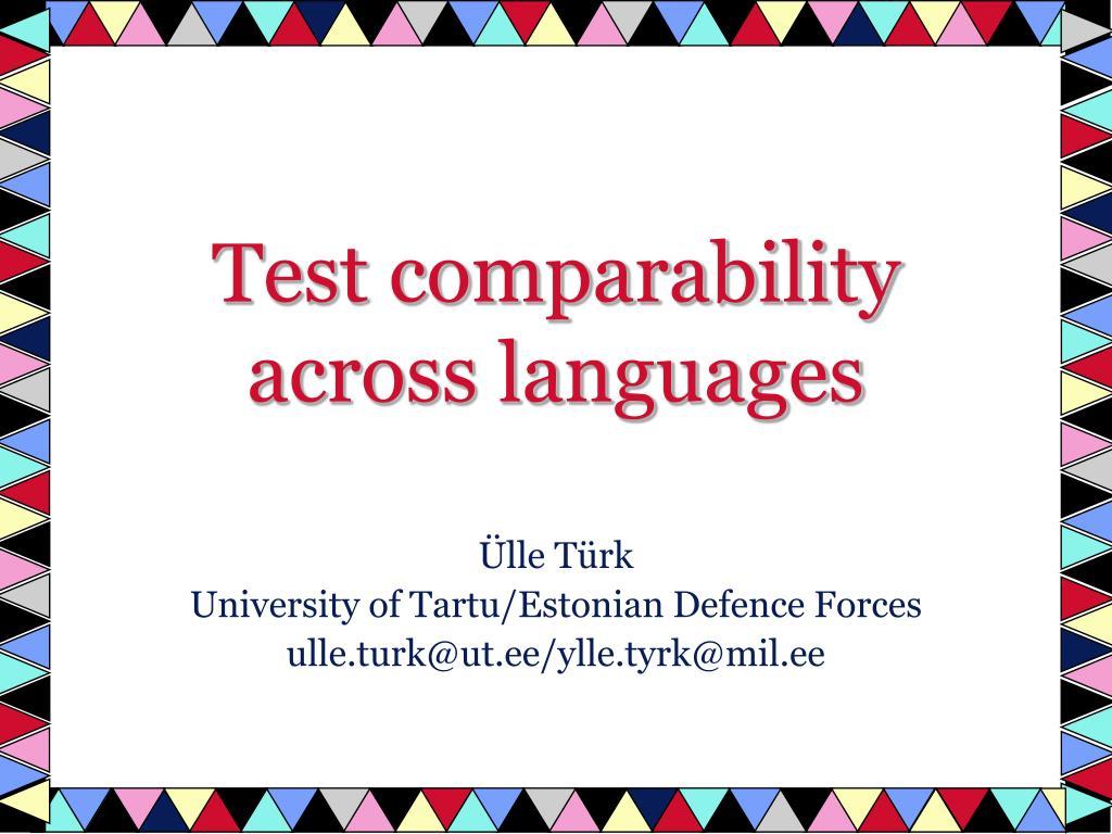 test comparability across languages l.