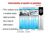 vulnerability of aquifer to pollution contd