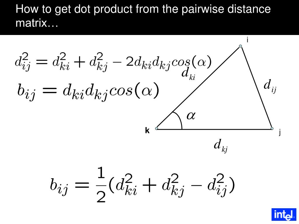 How to get dot product from the pairwise distance matrix…