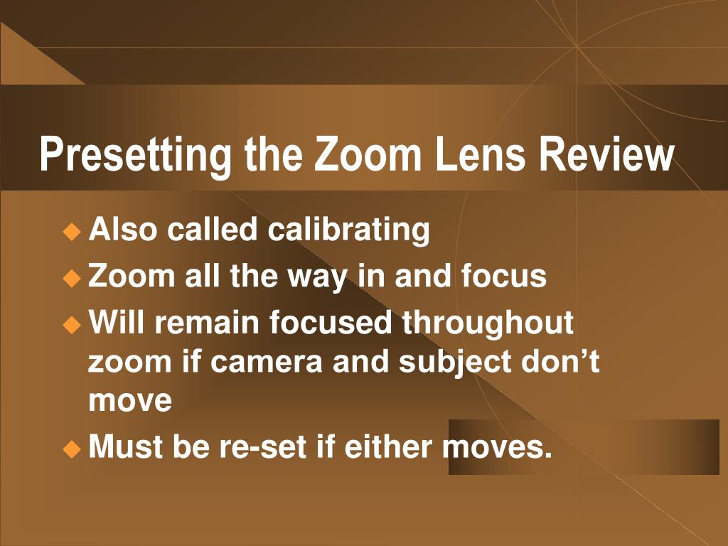 Presetting the Zoom Lens Review