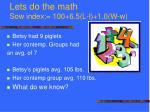 lets do the math sow index 100 6 5 l l 1 0 w w16
