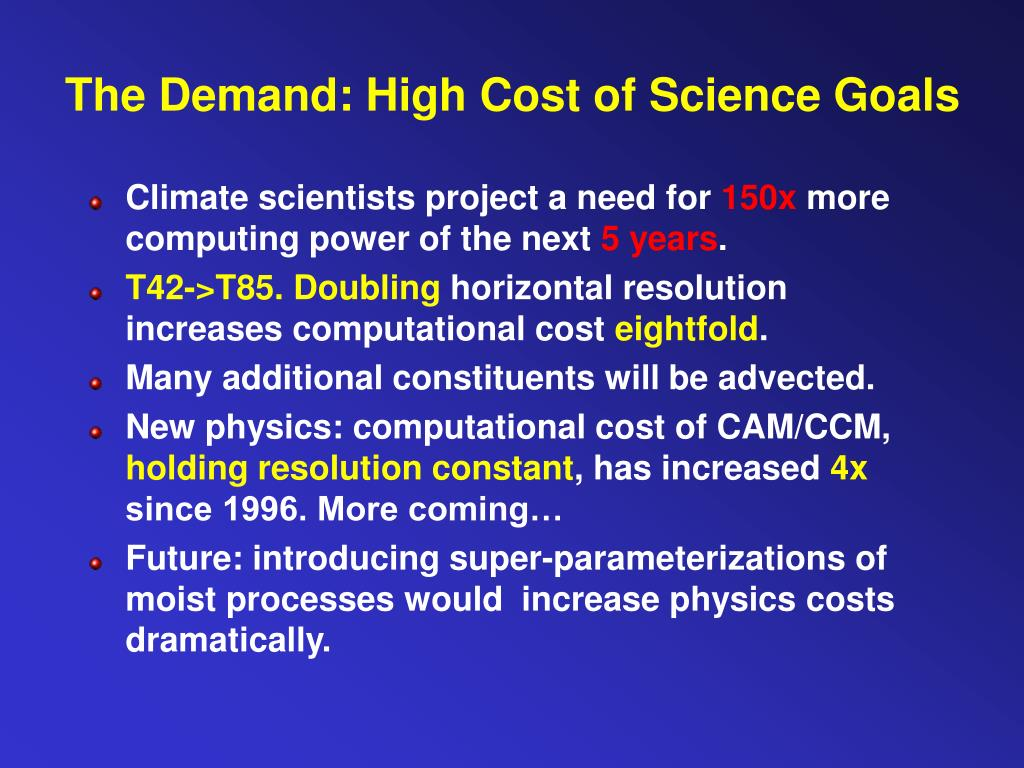 The Demand: High Cost of Science Goals