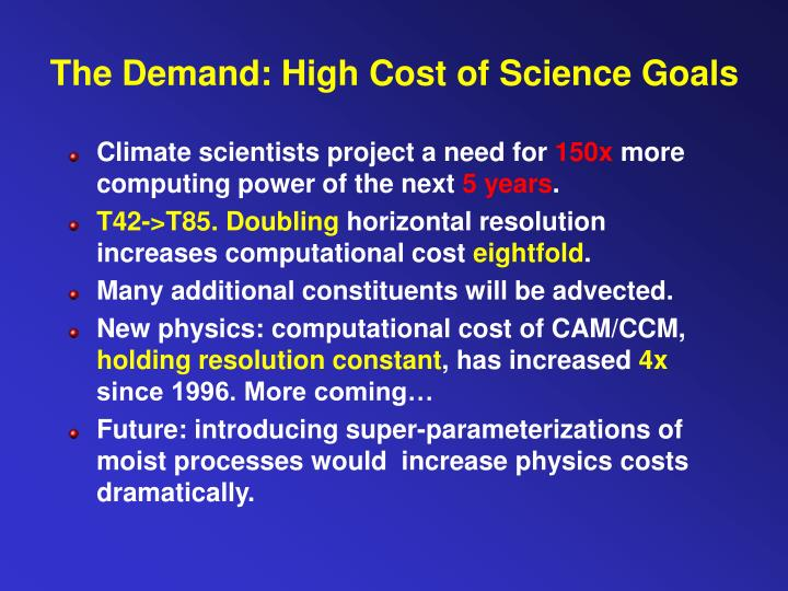 The demand high cost of science goals