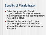 benefits of parallelization