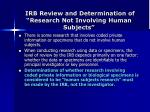 irb review and determination of research not involving human subjects