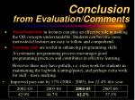 conclusion from evaluation comments