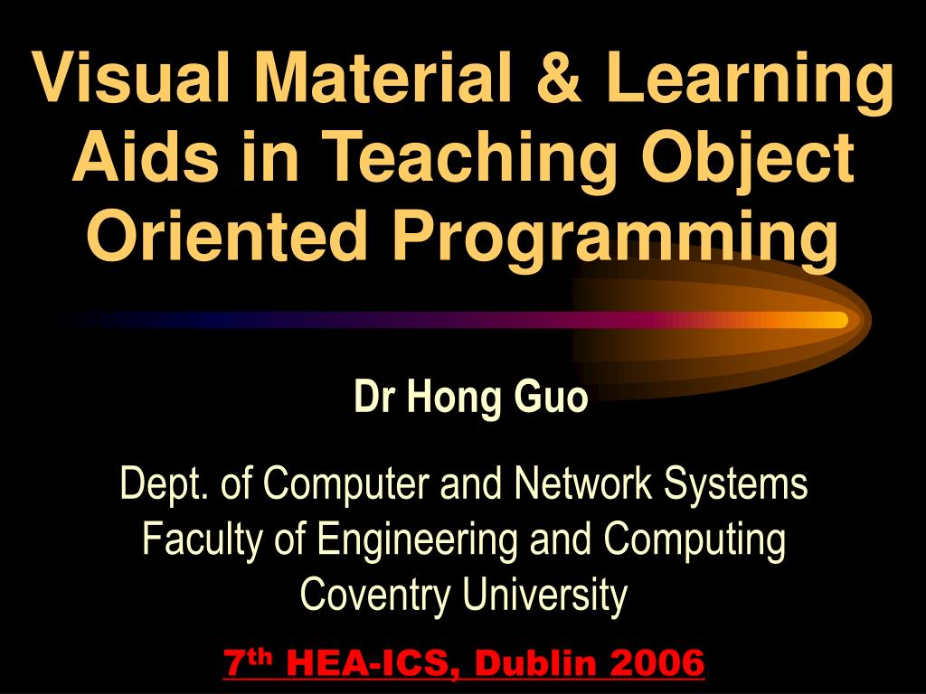 visual material learning aids in teaching object oriented programming l.