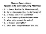 student suggestions questions to ask supervising attorney