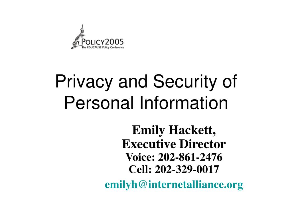 privacy and security of personal information l.
