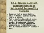 1 7 2 discuss relevant characteristics of antisocial personality disorder