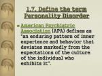 1 7 define the term personality disorder