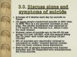 3 0 discuss signs and symptoms of suicide