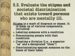 5 3 evaluate the stigma and societal discrimination that exists toward persons who are mentally ill