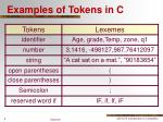 examples of tokens in c