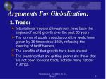 arguments for globalization