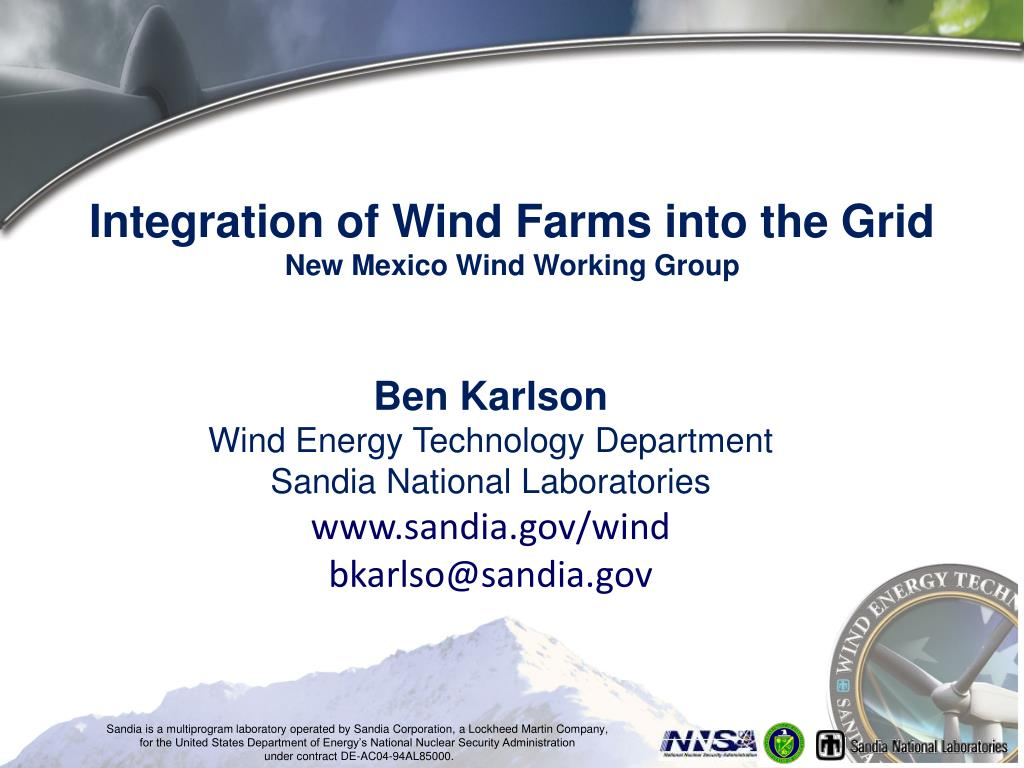 integration of wind farms into the grid new mexico wind working group l.