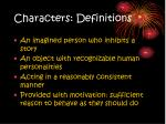 characters definitions