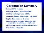 corporation summary