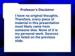 professor s disclaimer