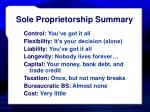 sole proprietorship summary