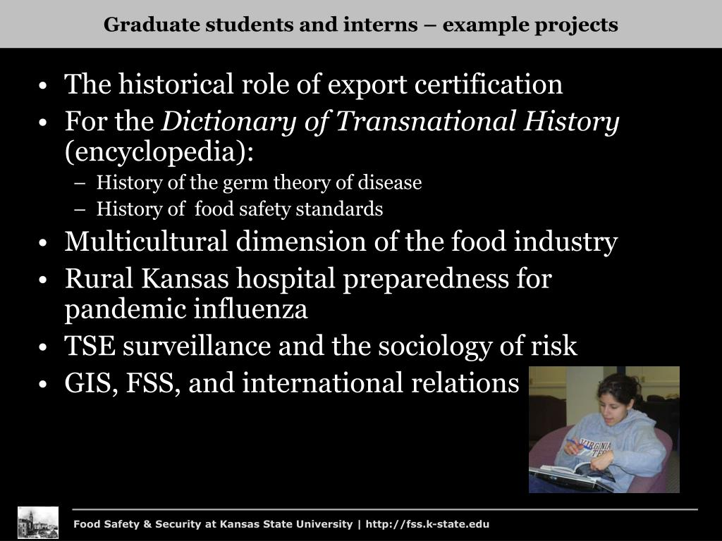 Graduate students and interns – example projects