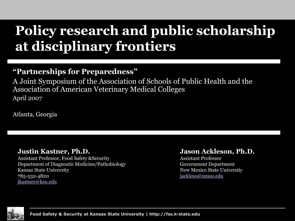 policy research and public scholarship at disciplinary frontiers l.