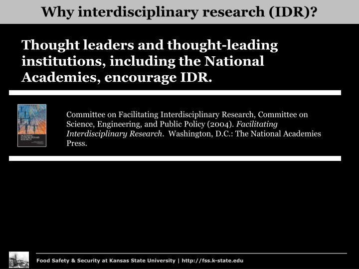 Why interdisciplinary research (IDR)?