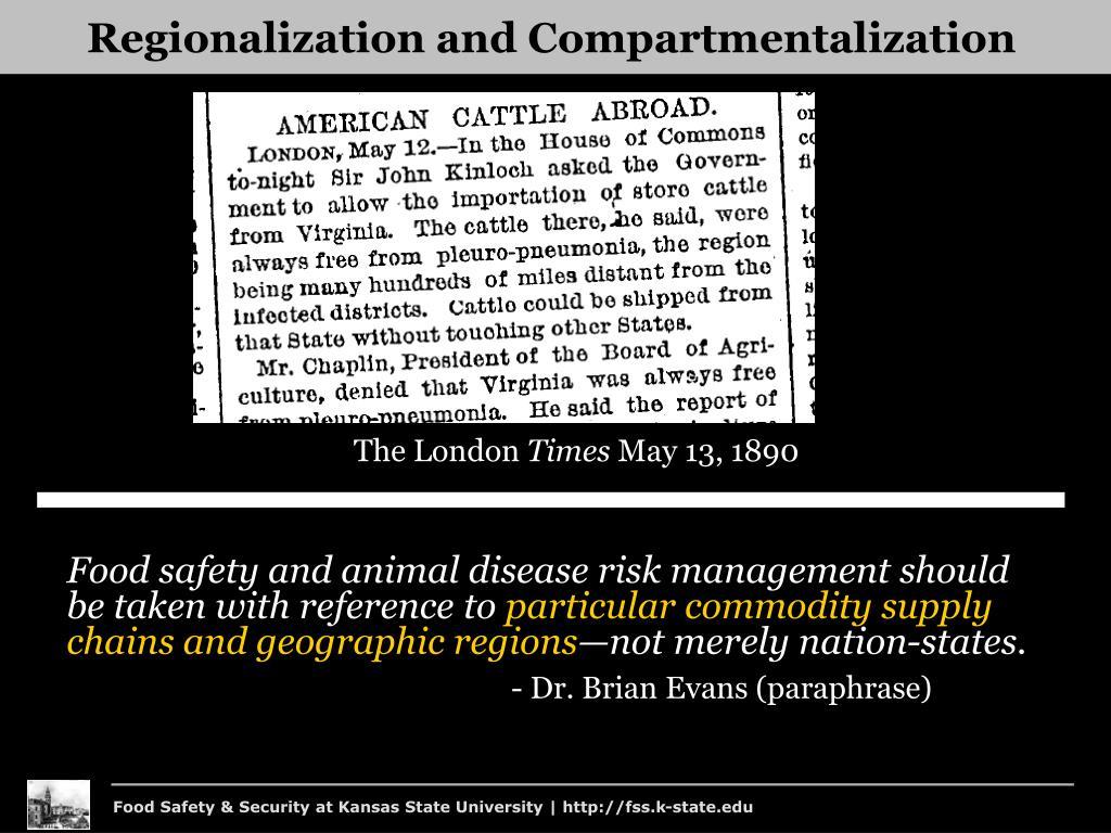 Regionalization and Compartmentalization