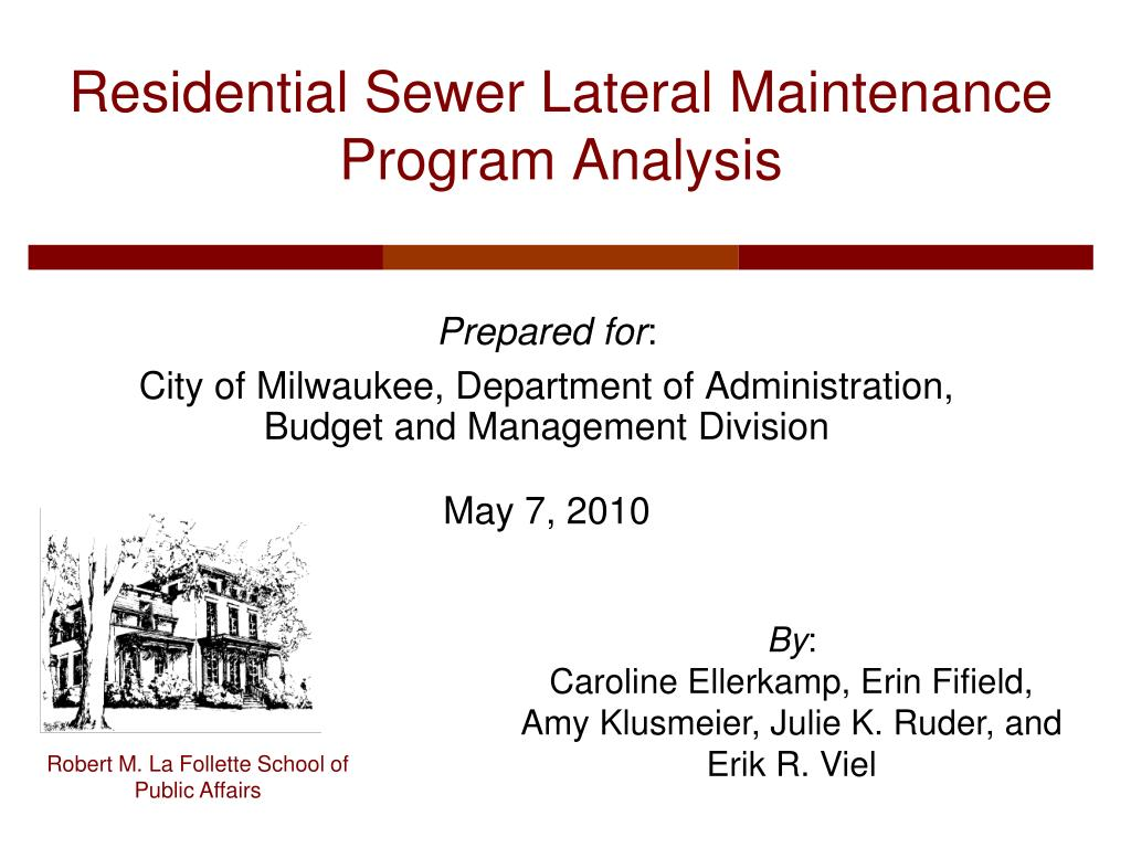 residential sewer lateral maintenance program analysis l.