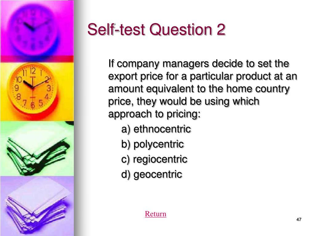 Self-test Question 2