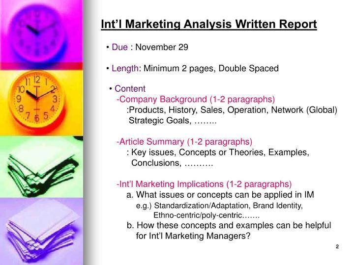 Int'l Marketing Analysis Written Report