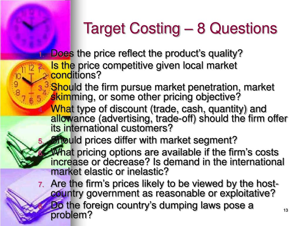 Target Costing – 8 Questions