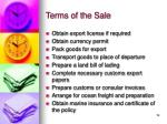 terms of the sale