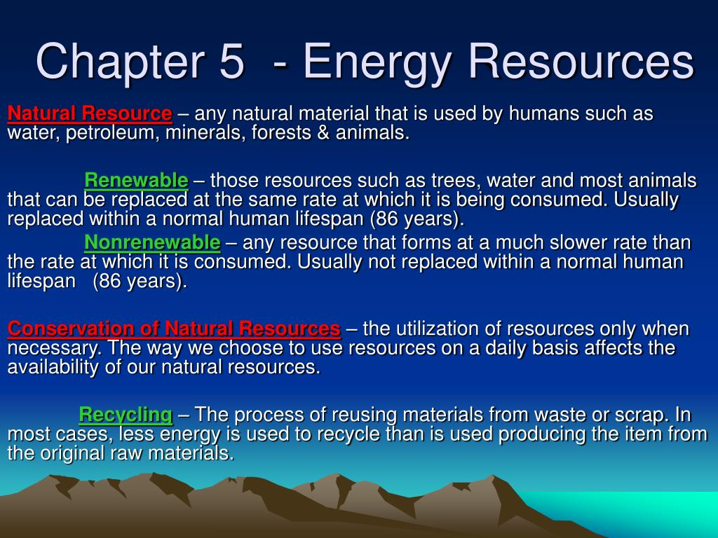 chapter 5 energy resources l.
