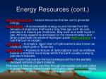 energy resources cont
