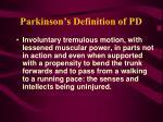 parkinson s definition of pd