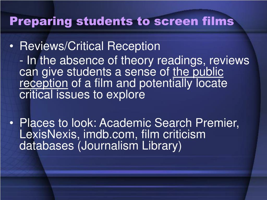 Preparing students to screen films