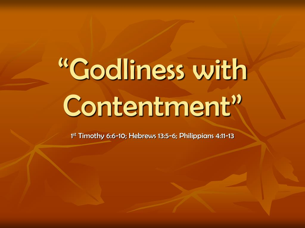 godliness with contentment l.