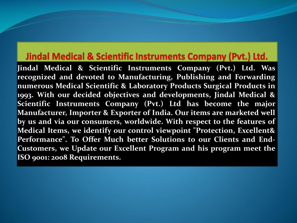 jindal medical scientific instruments company pvt ltd l.