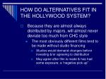 how do alternatives fit in the hollywood system43