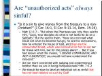 are unauthorized acts always sinful