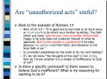 are unauthorized acts sinful14