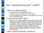 are unauthorized acts sinful15