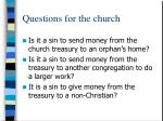 questions for the church