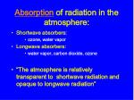 absorption of radiation in the atmosphere
