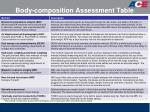 body composition assessment table